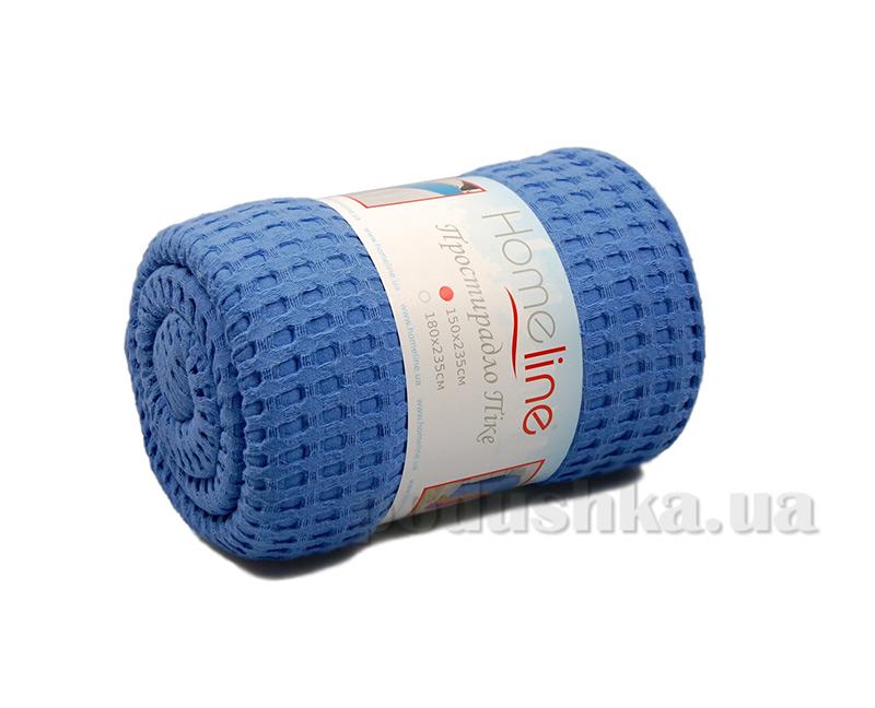 Вафельная простынь повышенной плотности Home Line синяя