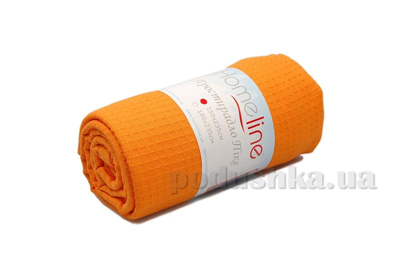 Вафельная простынь средней плотности Home Line оранжевая