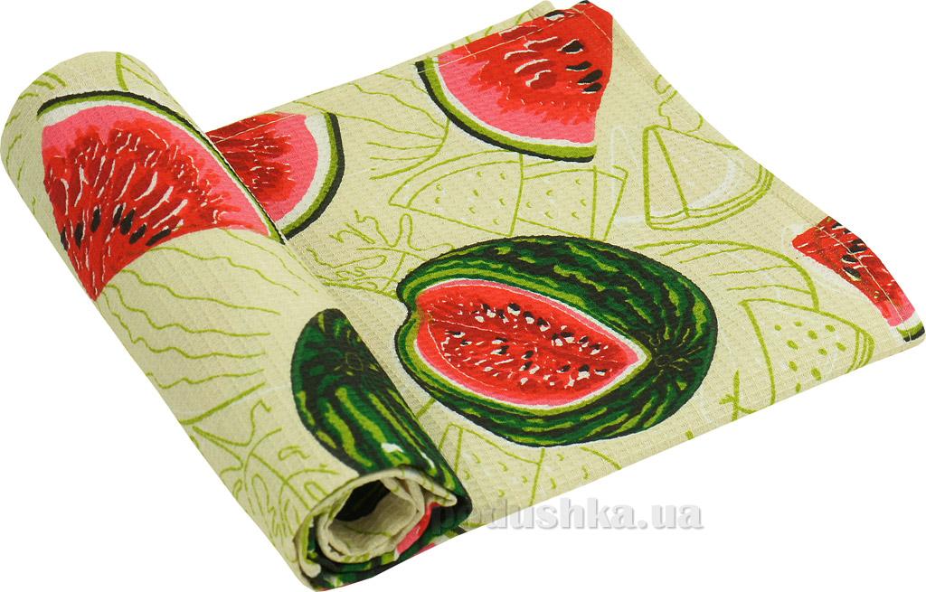 Вафельное кухонное полотенце Руно Арбуз бежевое 45х80 см  Руно