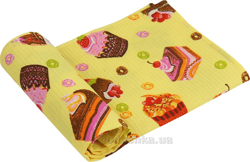 Вафельное кухонное полотенце Руно Кексики бежевое
