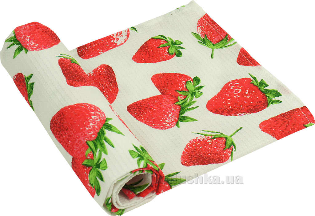 Вафельное кухонное полотенце Руно Клубника 45х80 см  Руно