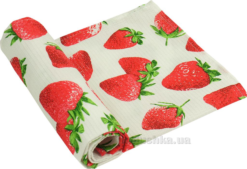 Вафельное кухонное полотенце Руно Клубника