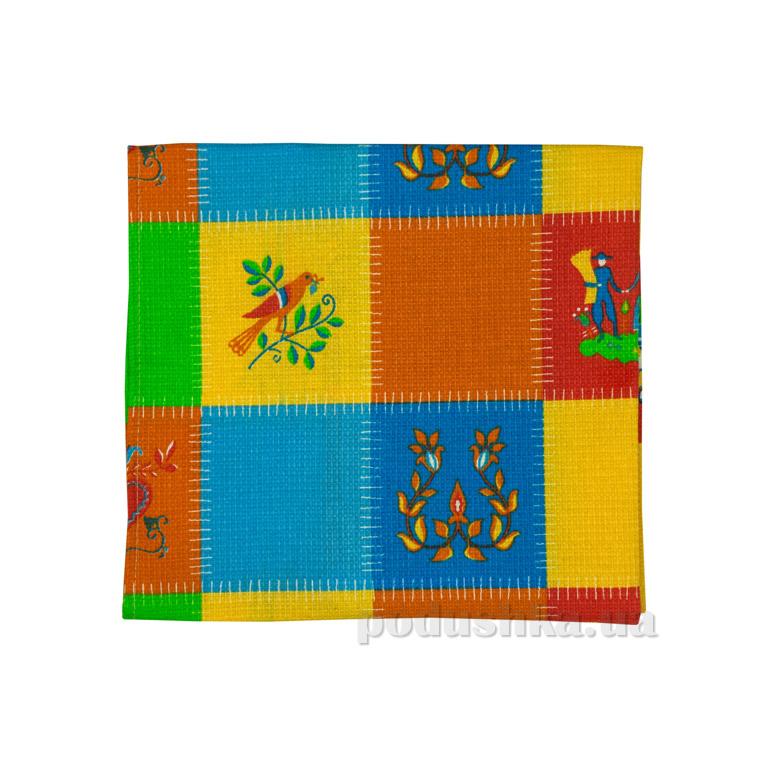Вафельное кухонное полотенце Руно Латки голубые