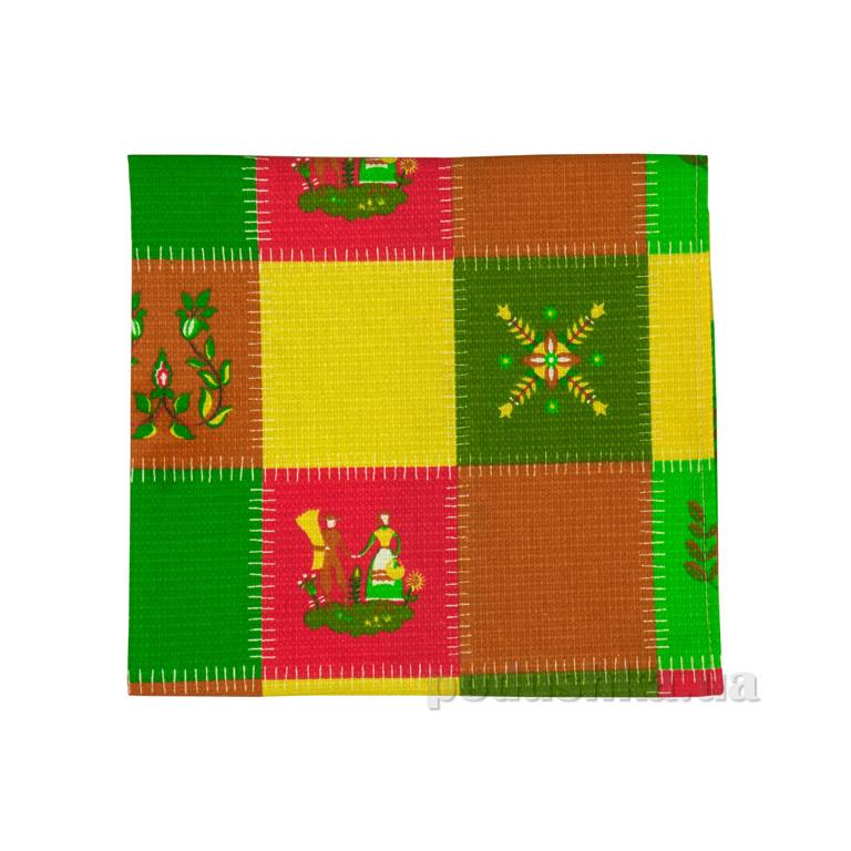Вафельное кухонное полотенце Руно Латки зелёные