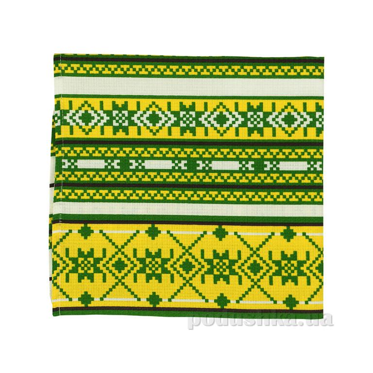 Вафельное кухонное полотенце Руно Орнамент зелёный