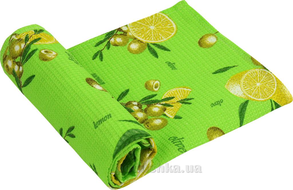 Вафельное кухонное полотенце Руно Салатовый лимон