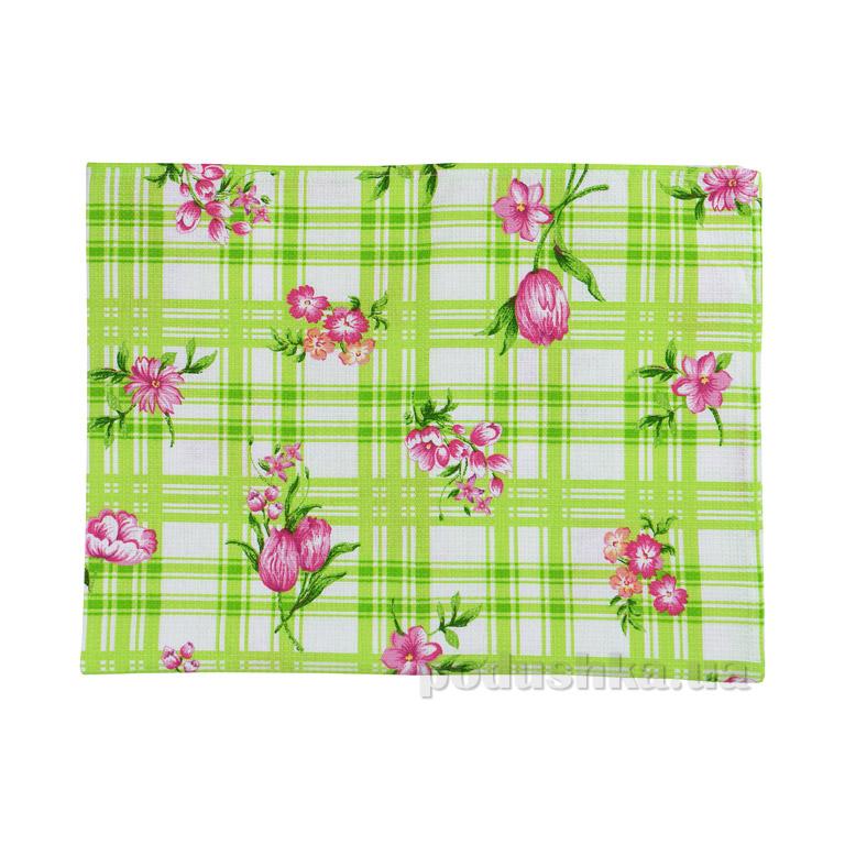 Вафельное кухонное полотенце Руно Салатовый тюльпан