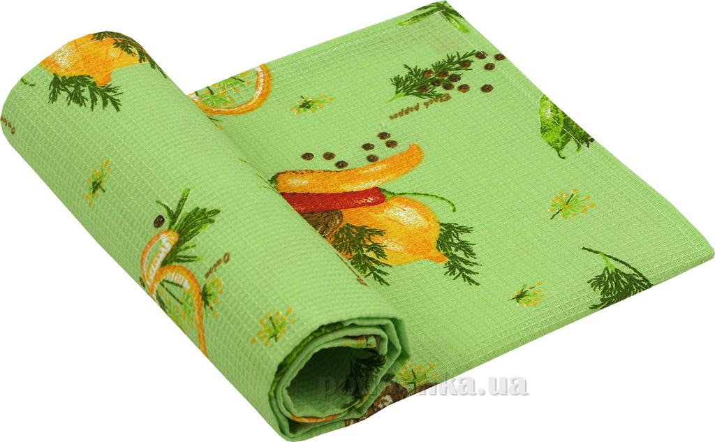 Вафельное кухонное полотенце Руно Специи салатовое