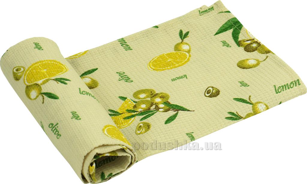 Вафельное кухонное полотенце Руно Жёлтый лимон