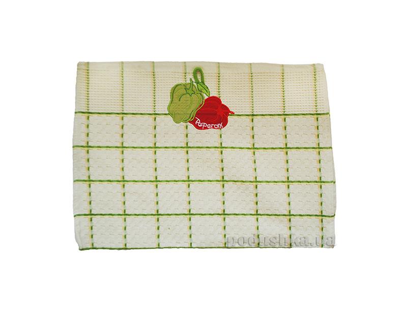 Вафельное полотенце в клетку Zastelli 23008 с вышивкой