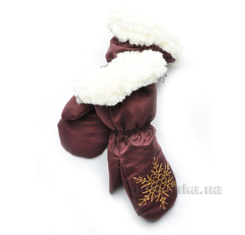 Варежки на меху Модный карапуз 03-00472 бордовые