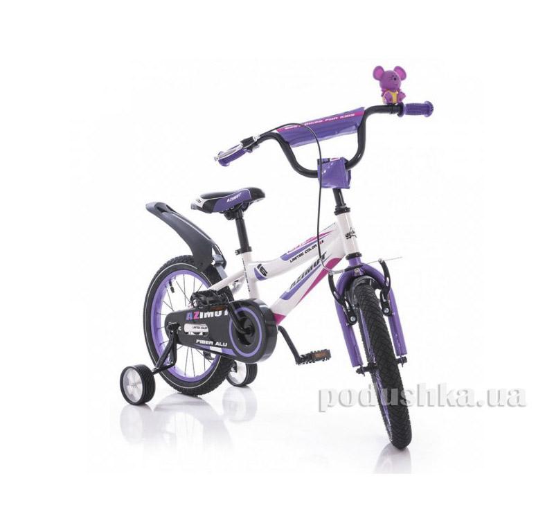 Велосипед Azimut Fiber 16 Бело-фиолетовый