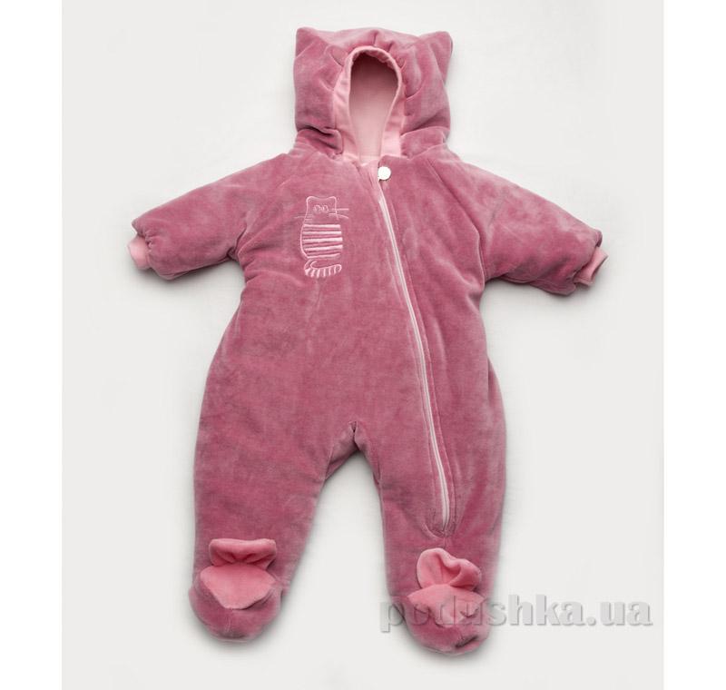 Велюровый комбинезон утепленный Модный Карапуз Kitty розовый