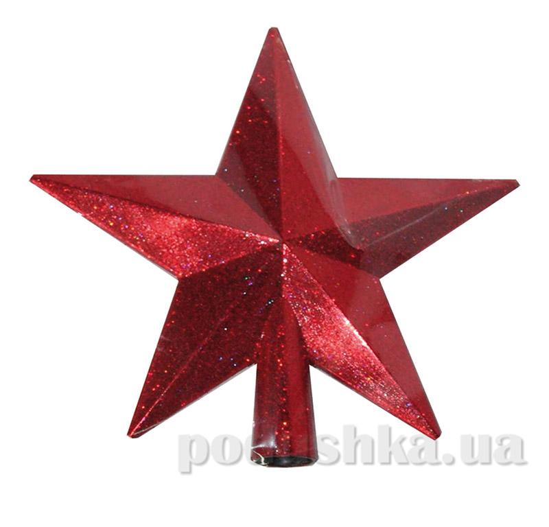 Верхушка красная для украшения елки Звезда Новогодько 971399