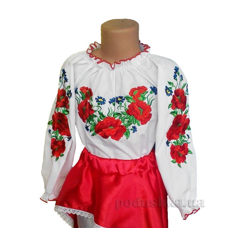 Вышитая блуза Глория мак-волошка