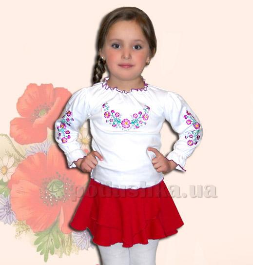 Вышитая сорочка для девочек Bimbissimi КФД-10 Фиалки фиолетовые