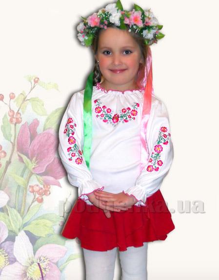 Вышитая сорочка для девочек Bimbissimi КФД-10 Фиалки малиновые