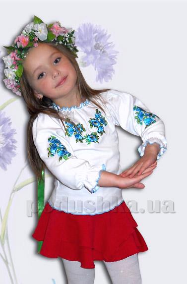 Вышитая сорочка для девочек Bimbissimi КФД-10 Маки бирюзовые