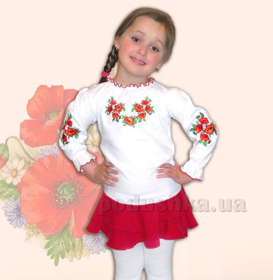 Вышитая сорочка для девочек Bimbissimi КФД-10 Маки красные