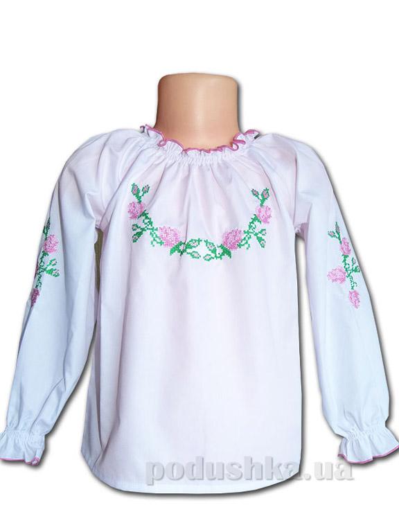 Вышитая сорочка для девочек Bimbissimi ВСД-022 с розовой вышивкой