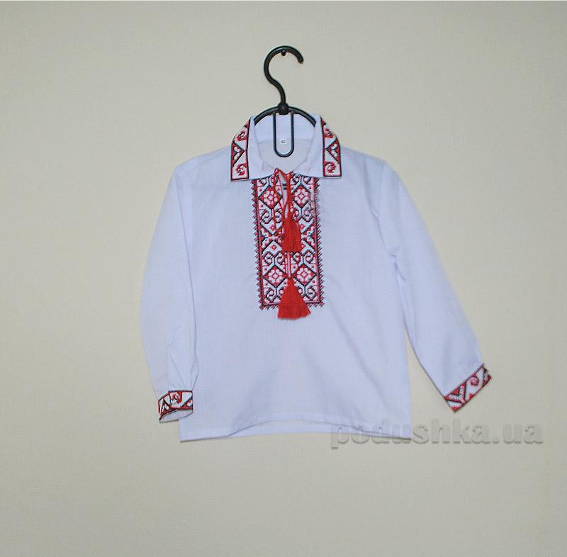 Вышитая сорочка для мальчиков Bimbissimi СХ-006 с красным узором