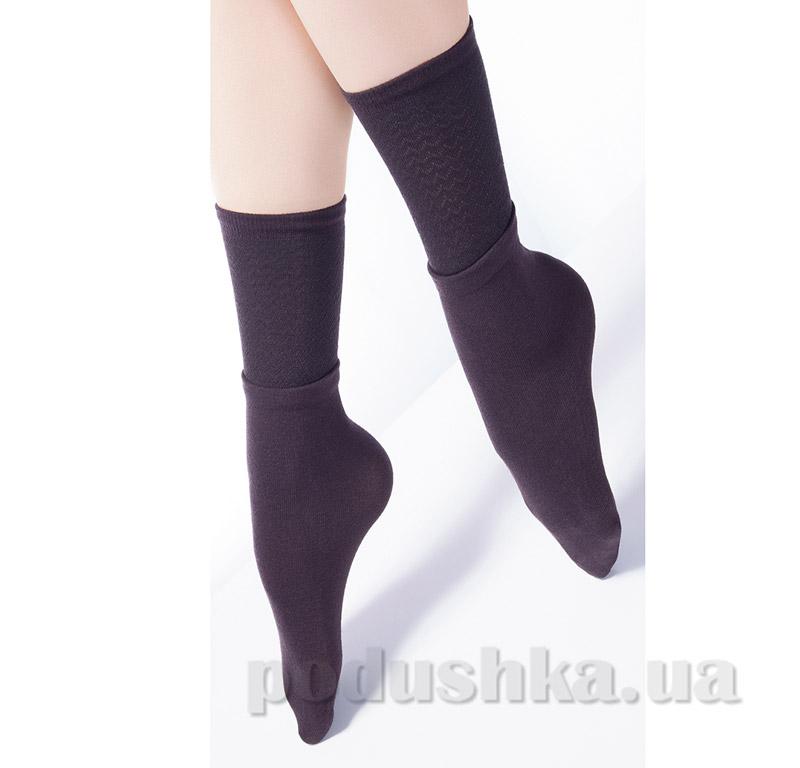 Высокие носки с двойным отворотом и ажурным рисунком Giulia Dual-3 caffe