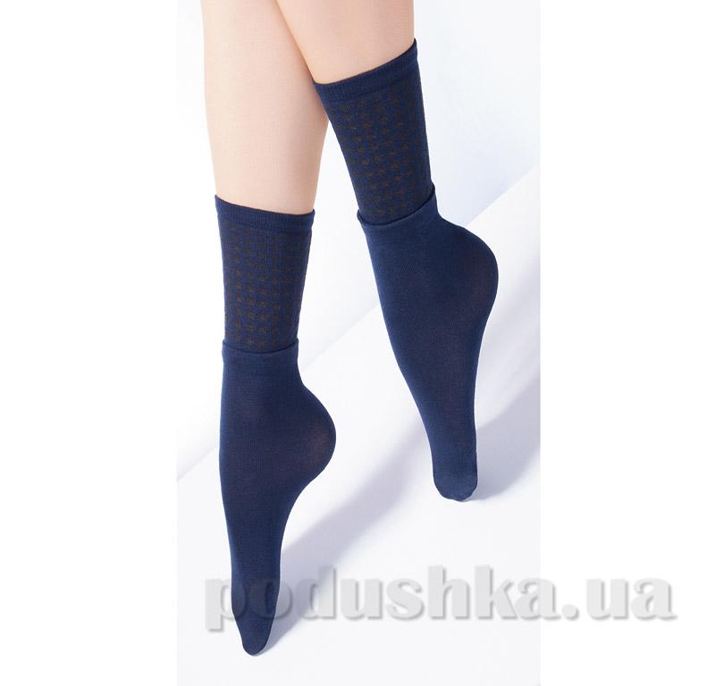 Высокие носки с двойным отворотом и ажурным рисунком Giulia Dual-4 dark bleu