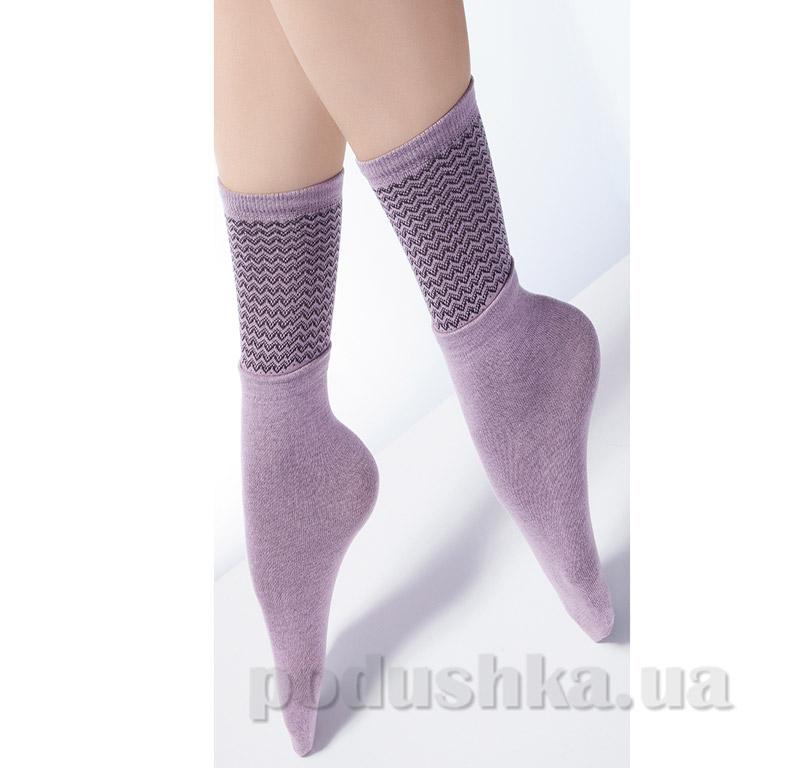 Высокие носки с двойным отворотом и ажурным рисунком Giulia Dual-3 lillac