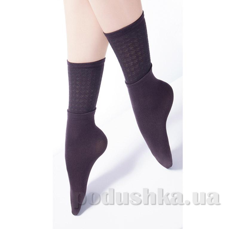 Высокие носки с двойным отворотом и ажурным рисунком Giulia Dual-4 caffe