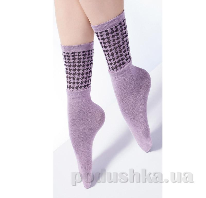 Высокие носки с двойным отворотом и ажурным рисунком Giulia Dual-4 lillac
