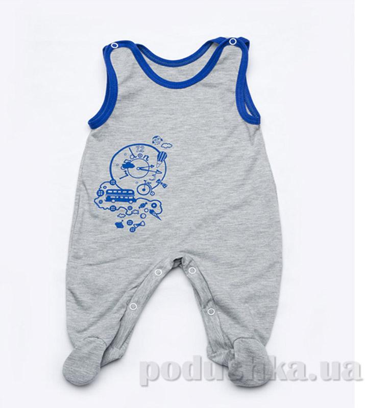 Высокие ползунки для мальчика кулир Модный карапуз 303-00007 Серый с голубым
