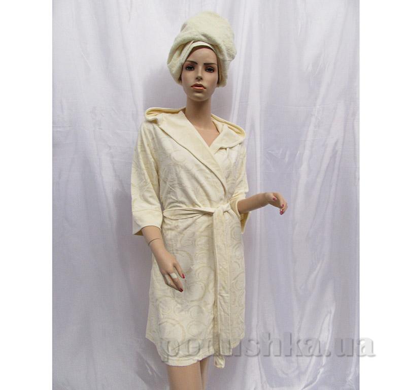 Xалат женский с капюшоном Baglamali Arya 13145 светло-кремовый