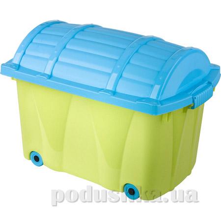 Ящик на колёсах для игрушек Prima Baby зелёно-бирюзовый