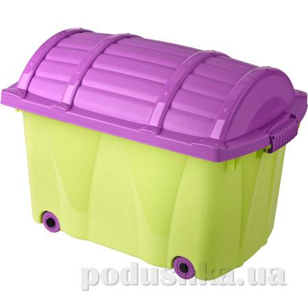 Ящик на колёсах для игрушек Prima Baby зелено-фиолетовый