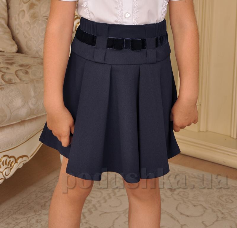 Юбка школьная синяя Милана Ю-02116 с бархатной лентой