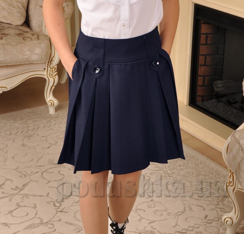 Юбка синяя с карманами Милана Ю-02135 для девочки