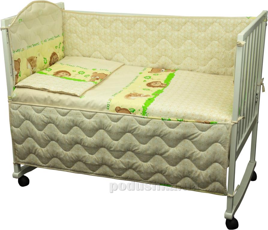 Защитное ограждение для детской кроватки Руно 926.114У Ёжик бежевое