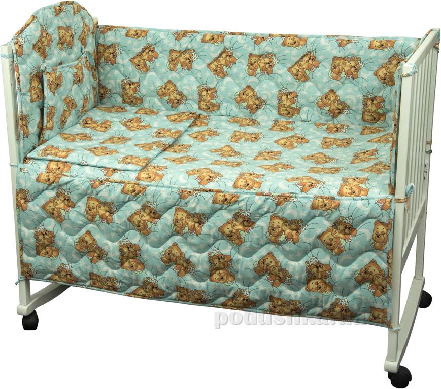 Защитное ограждение для детской кроватки Руно 926.114У Мишки спят голубое