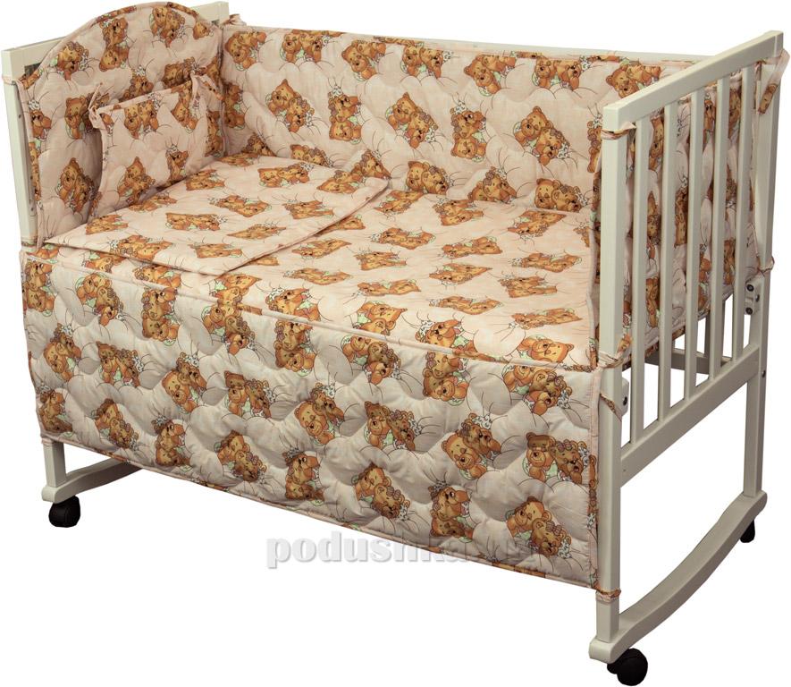 Защитное ограждение для детской кроватки Руно 926.114У Мишки спят розовое