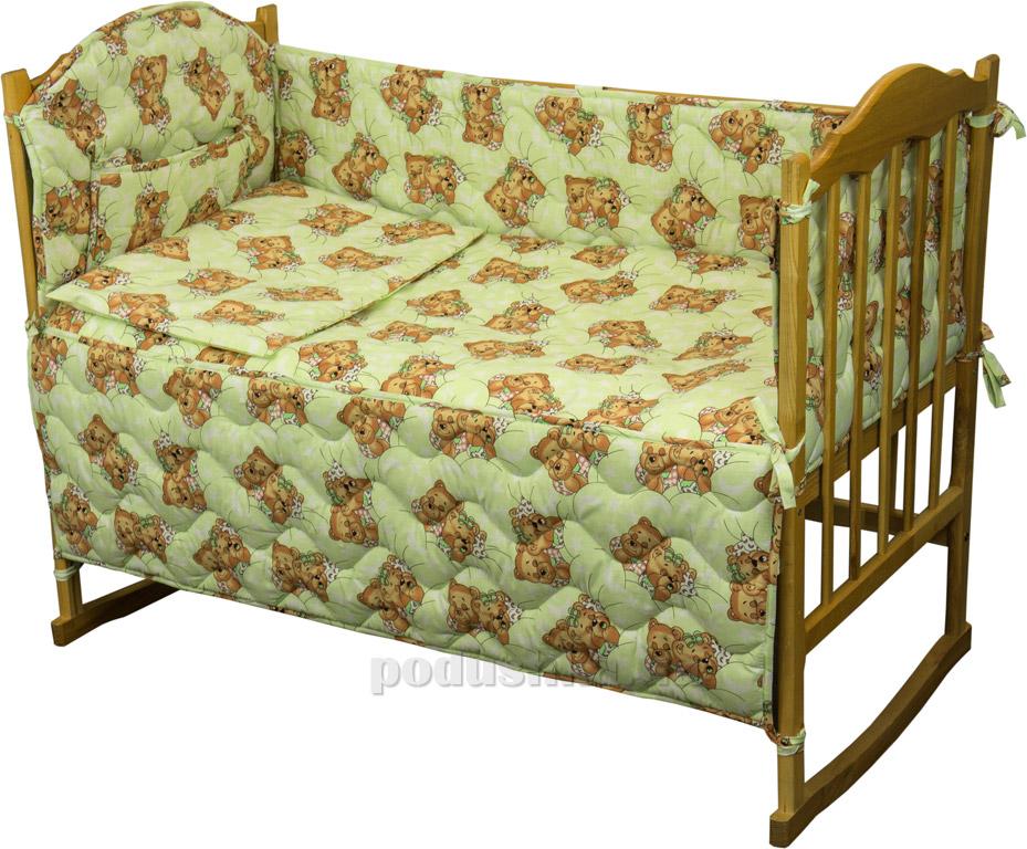 Защитное ограждение для детской кроватки Руно 926.114У Мишки спят салатовое