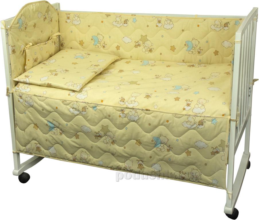 Защитное ограждение для детской кроватки Руно 926.114У Мишки-пузатики бежевое
