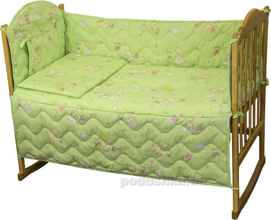 Защитное ограждение для детской кроватки Руно 926.114У Мишки-пузатики салатовое