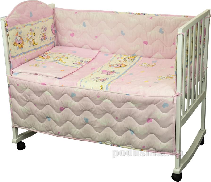 Защитное ограждение для детской кроватки Руно 926.114У Мышка с сыром розовое