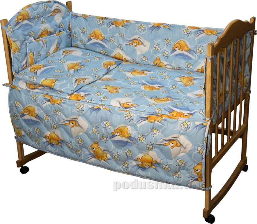 Защитное ограждение для детской кроватки Руно 926.114У Сладкий сон голубое