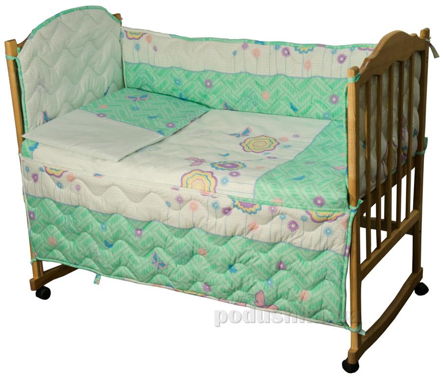 Защитное ограждение для детской кроватки Руно 926.114У Цветочки и бабочки салатовое