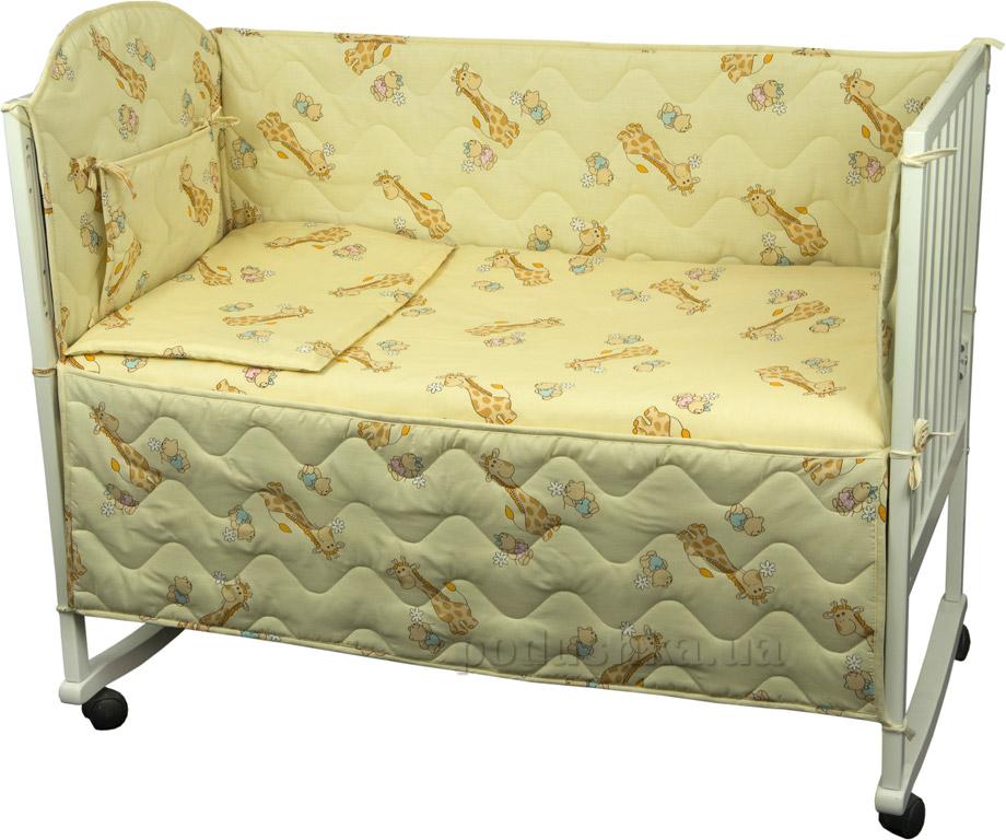 Защитное ограждение для детской кроватки Руно 926.114У Жирафик бежевое