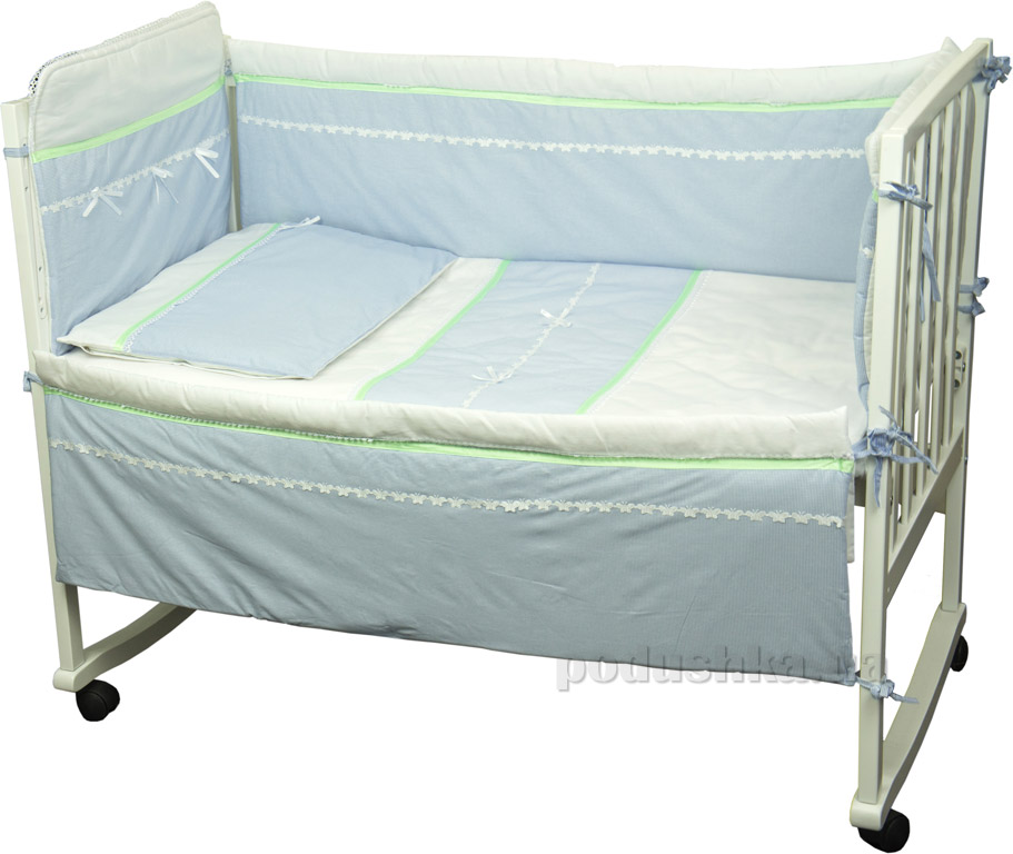 Защитное ограждение для детской кроватки Руно Лапушка голубое