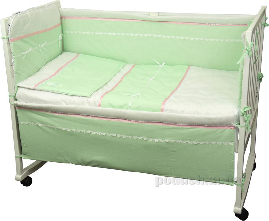 Защитное ограждение для детской кроватки Руно Лапушка салатовое