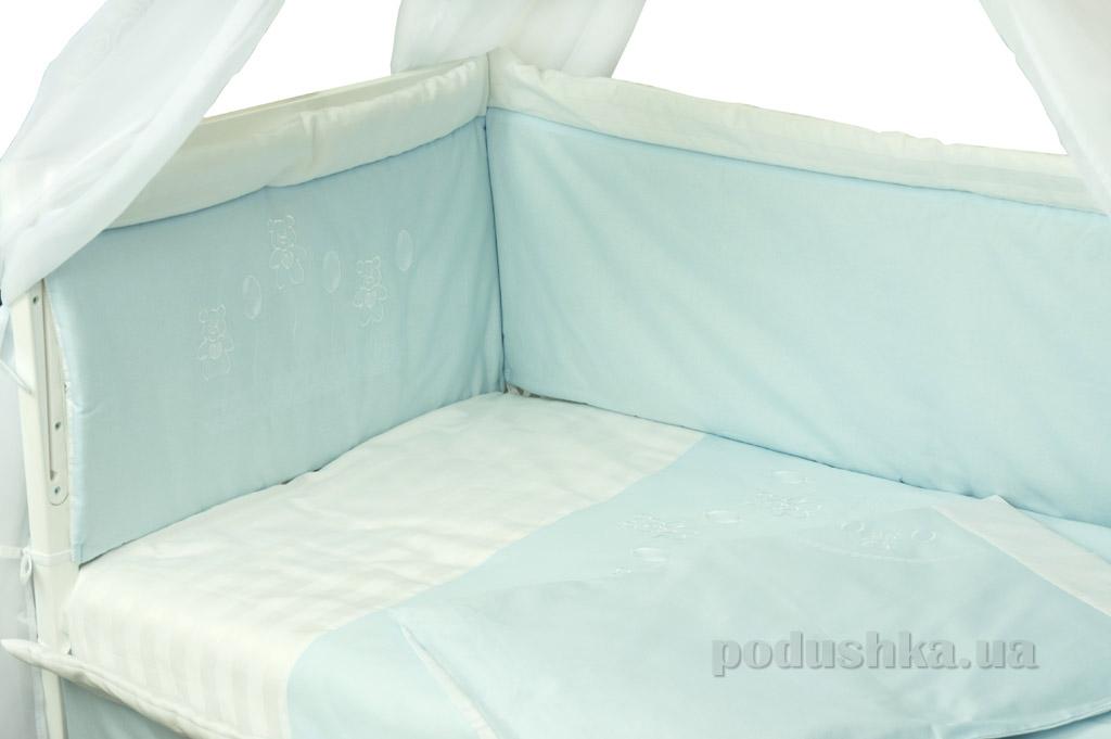 Защитное ограждение для детской кроватки Руно Люкс голубое