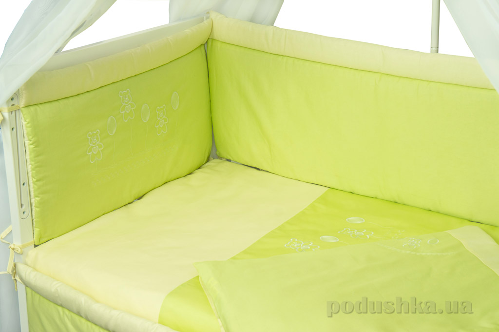 Защитное ограждение для детской кроватки Руно Люкс салатовое
